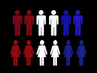 red white and blue men and women