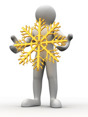 Man with snowflakes