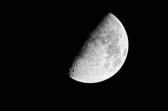 Close-up of the waxing gibbous moon (60%)