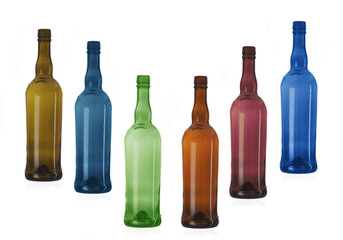 Six multi-coloured bottles