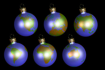 christmas balls with earth