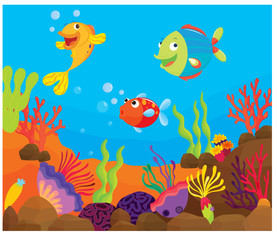 Printed roller blinds Submarine reef fish underwater illustration