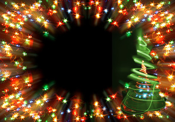 xmas color lights on the black background
