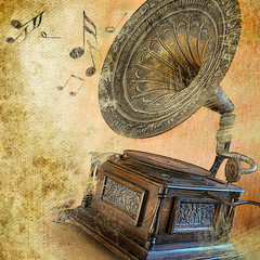 Obraz musical retro - fototapety do salonu