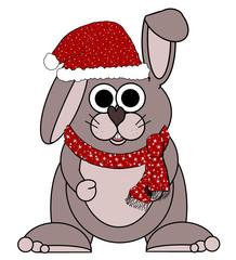 Santa Bunny Rabbit Cartoon - Isolated on white