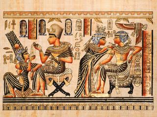 Egyptian papyrus: scenes of Tutankhamen and his wife Anhksenamon