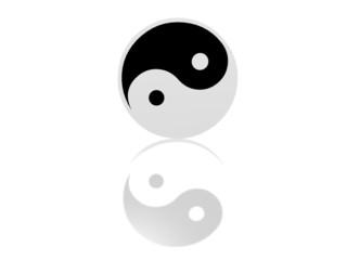 yin yang symbol with reflection