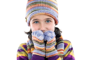 Wall Mural - Adorable little girl with clothes for the winter