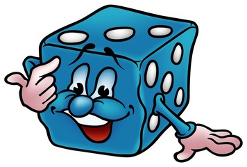 Blue Dice - colored cartoon illustration