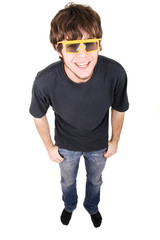 happy guy in funny looking sunglasses