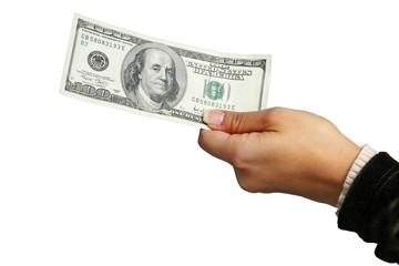 Giving $100 bill!