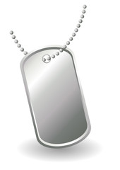 Dog tags or identity plates with copy space over white
