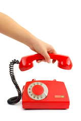 Telephone and woman hand