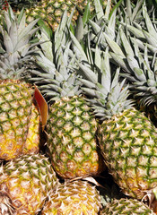 Stack of pineapples outside in store display