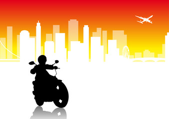 Fototapete - Motorbiker - city vector pack