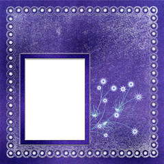 Framework for photo or invitation on abstract winter background.