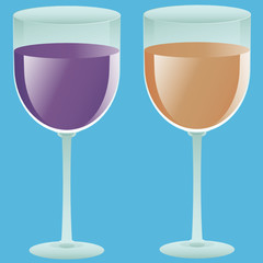 two filled wine glasses