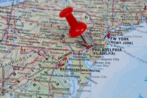 Red Pin Pointing On Philadelphia On USA Map In Atlas Stock Photo - Philadelphia usa map
