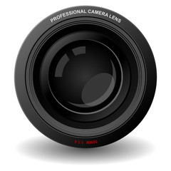 Camera lens isolated over square white background