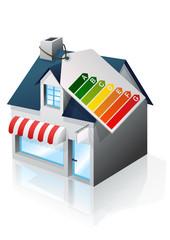 Petit commerce et étiquette énergie (reflet)