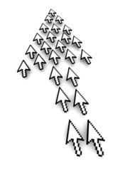 Poster Pixel Computer arrows 3d rendered illustration