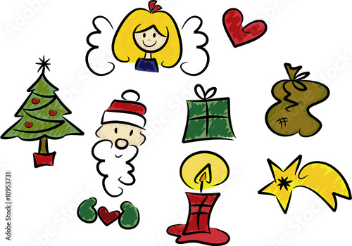achtteiliges set weihnachts illustrationen humorvoll. Black Bedroom Furniture Sets. Home Design Ideas