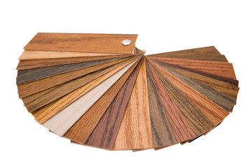 Wood color samples on a white background