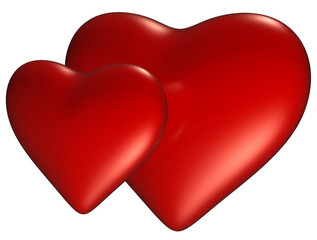 Two heart with clipping path