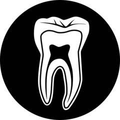 Vector tooth icon. Black and white. Simply change.