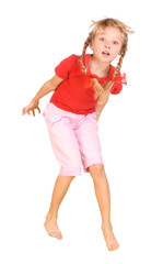 Jumping child in red shirt and pink pants.