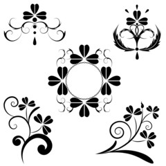 set of the floral design with clover