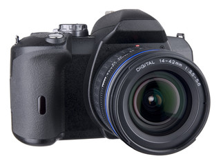 DSLR front angled view with standard zoom lens on white