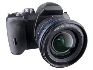 DSLR front angled view with wide zoom on white