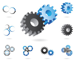a set of blue and black cogs in 2d and 3d shapes