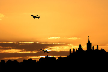 Planes departing Ottawa at sunset