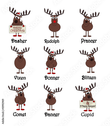 quot all nine reindeers with names isolated on white quot  stock reindeer clip art free images reindeer antler clip art free