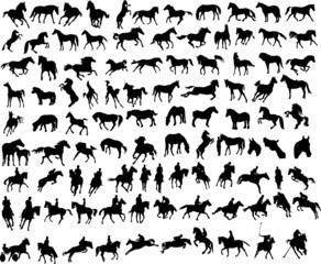 100 vector silhouettes of horses
