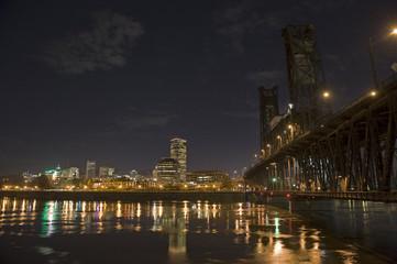 Portland skyline night