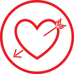 Vector heart and arrow icon. Black and white. Simply change.