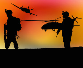 Foto op Canvas Militair Soldiers and sunset