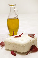 white cheese and olive oil