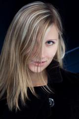 Half face of blonde girl