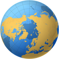 Globe over the North Pole