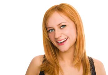 Beautiful green-eyed smiling woman