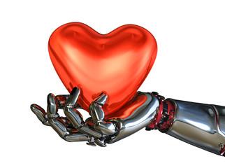 Robot Hand Holding Heart