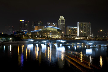 beautiful night view of Singapore buildings