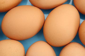 Eggs in light blue bowl