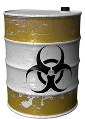 Barrel of toxic waste rotated