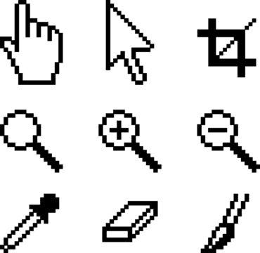 Screen tools. Illustration of popular classic icons.