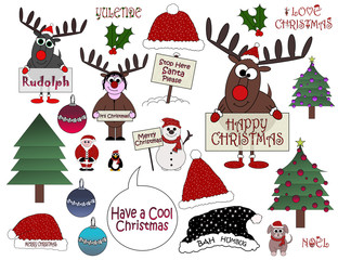 Christmas Cartoon Collection (No:3)- Isolated on white